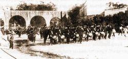 Desfile militar en Av. Madero, 1915. Morelia.