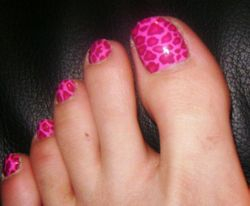 Pink Cheetah on toes