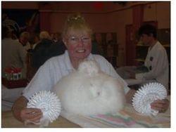 Mrs Sue Fisher and her White Angora 2010