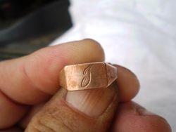 10 K gold initial ring