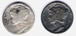 1926 & 1936 Mercury Dimes