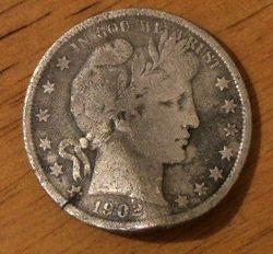 1902 Barber Half Dollar (bent)