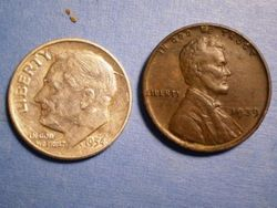 1954 Dime and 1939 Penny