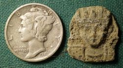 Unidentified Pewter Relic Shown with Mercury Dime