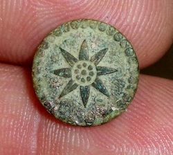 Late 18th Early 19th Century Star Button TREBLE GILT backmark with Crown