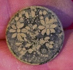Cast Eye Pewter Button With Floral Design