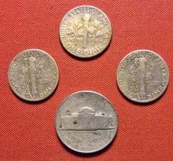 1950s Silver Coin Spill