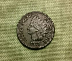 1870 Shallow N Semi Key Date Indian Head - AU Details