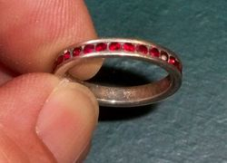 Silver Ring with Faux Rubies VDI 86