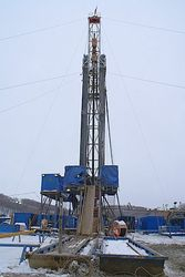 Guyed drilling rig.