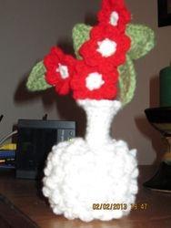 Crocheted White Hobnail Vase
