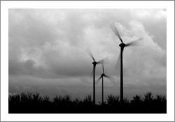 Windmolens in zwart-wit