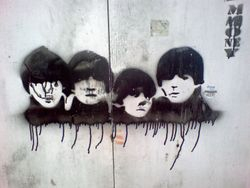 The Beatles sprayed on a wall