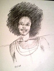 Lady with afro hairstyle sketch (January 2008)