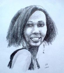 Graphite sketch of Lilian Karega, Kigali, Rwanda