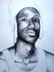 Sketch of Lee (Kigali) in his tribal headgear