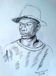 Sketch of Kenyan migrant (March 2008)
