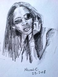 Sketch of Naomi Campbell, February 2008