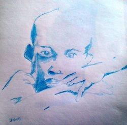african sketch, pencil crayon (October 2010)