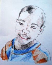 Haitian boy, crayon sketch (July 2010)