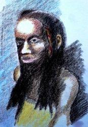girl, crayon sketch (July 2010)