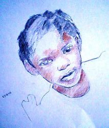 Haitian girl in a white dress, crayon sketch (24-4-10)