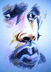 face, coloured pencil sketch (June 2010)