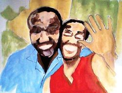 Lee and Lili in Kigali, Rwanda, paint sketch (August 2010)