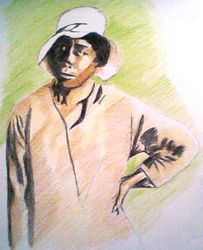 lady standing in a cottonfield (crayon, august 2009)