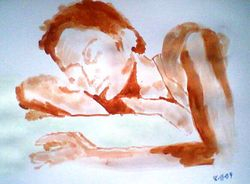 lady lying on a couch, paint sketch (november 2009)
