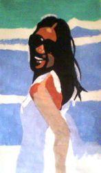 girl on a beach, draft paint sketch (september 2009)