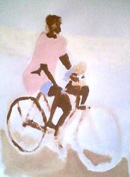 man riding a bike with a small child, paint sketch (september 2009)