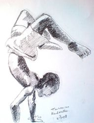 Sketch of Tanzanian boy walking on his hands (March 2008)