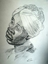 Lady with turban after Watteau (October 2007)