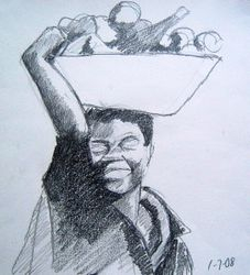 lady carrying a basket of yams