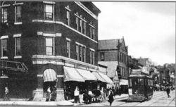 Early Trolley along Broadway c. 1900