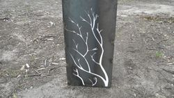Branches, rust with opal acrylic backing'