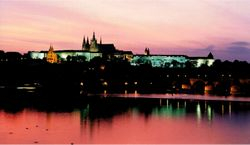 Prague Castle, pink sky