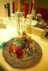 Her tray of perfumes