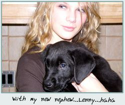 Taylor with a family member's dog