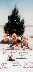 Taylor's family Christmas card in 1994
