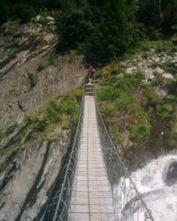 A very wobblely footbridge