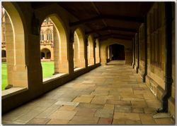 Arches and a paved walkway.