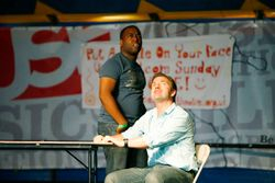 Duaine Samuels as Danny and Simon Armitage as Simon in Cleaners