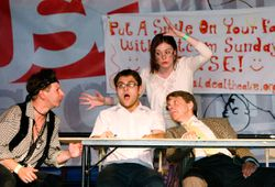 Liegh Acton as Brian, Alex Head as Ben, Carrie Marx as Priscilla, James Pellow as David in In Transit