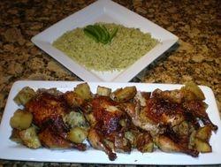 Stuffed cornish hen & Green rice