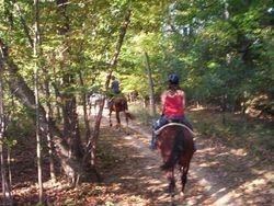 Trail riding.