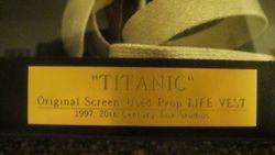 Titanic Life Vest Prop Plate