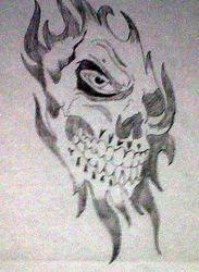 Skull Ripping Through Paper