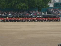 The Guards in line ready for the Trooping.